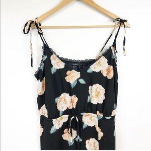 Forever 21 black floral print maxi dress